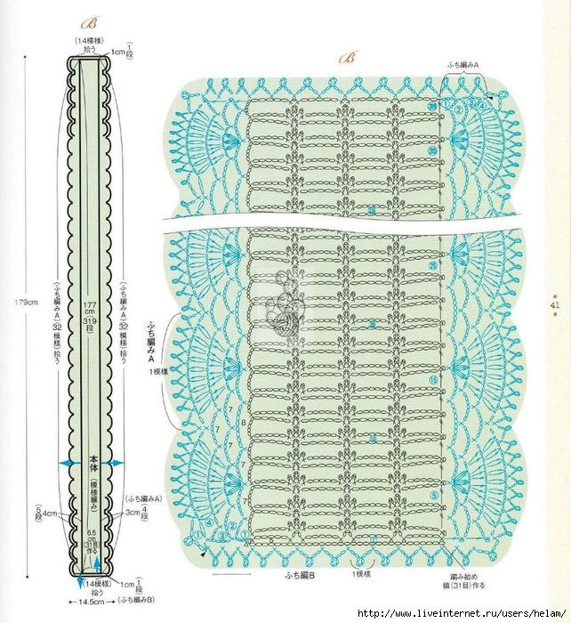 Вязание крючком схемы палантины японские 260