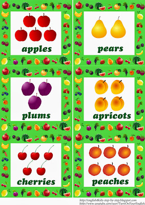fruit flashcards in plural