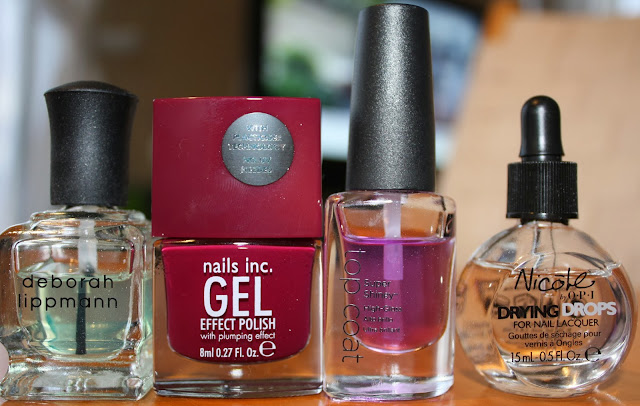 Nails Inc. Gel Effect Kensington High Street Polish, Deborah Lippman Rehydrating Base Coat, CND Super Shiney Top Coat, Nicole by OPI Drying Drops