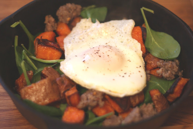 Roasted Sweet Potato and Spinach Breakfast Hash recipe by Barefeet In The Kitchen