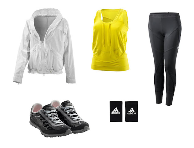 Collage ropa para el gimnasio Stella McCartney Adidas en color negro, amarillo y blanco.