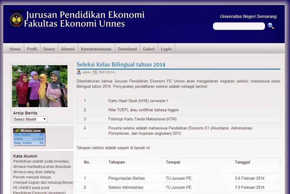 Seleksi Kelas Bilingual Pendidikan Ekonomi FE Unnes Tahun 2014