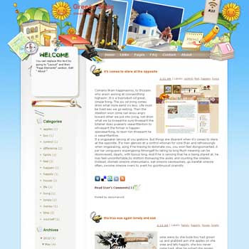 Greece Style template blog from wordpress. travel blog template. template blog from wordpress. template travel for blogger