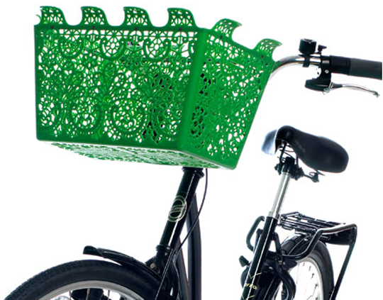 green bicycle basket