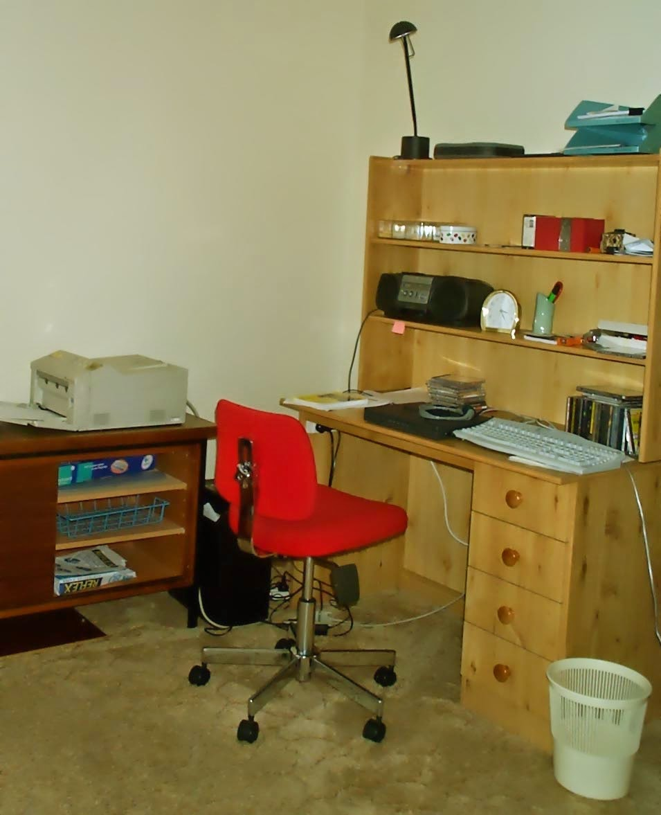 Desk and chair in study