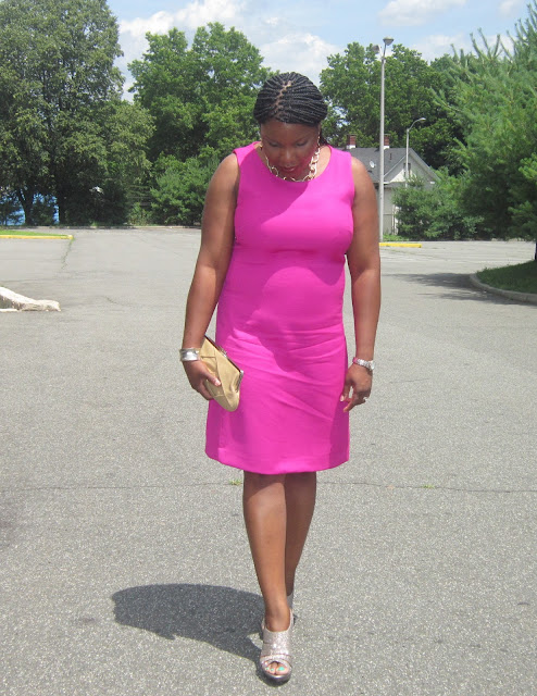 hot pink dress, gold sandals, nude purse, A line for apple shape, summer wedding outfit