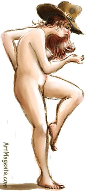 The Akubra hat is a figure drawing by artist and illustrator Artmagenta