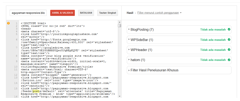 Structure data testing tool Paguyaman Responsive Premium