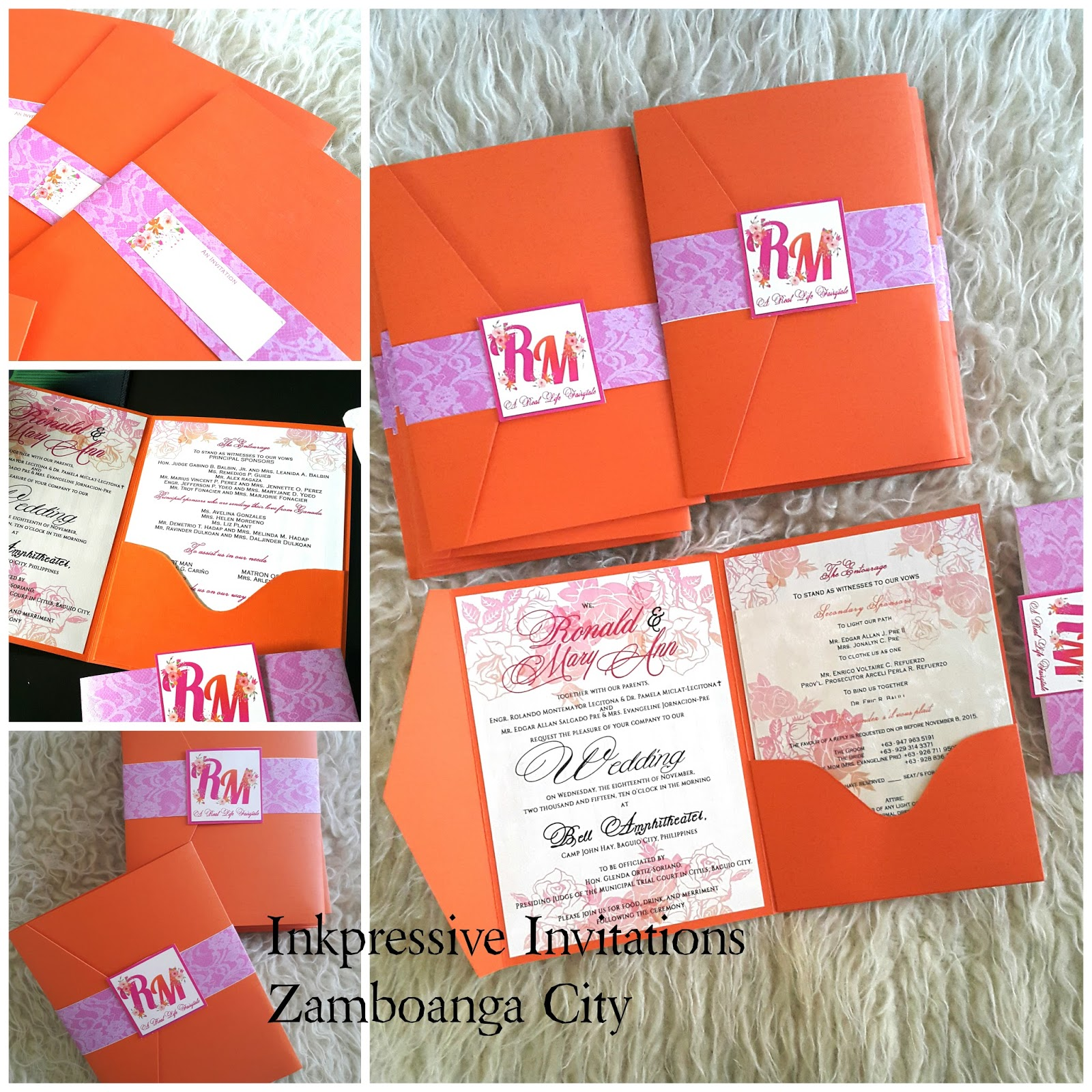 beautiful pocket tri-fold wedding invitation in fuchsia and ...