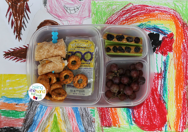 school work lunch wholly guacamole grapes ants on a log sunbutter peanut-free nut-free