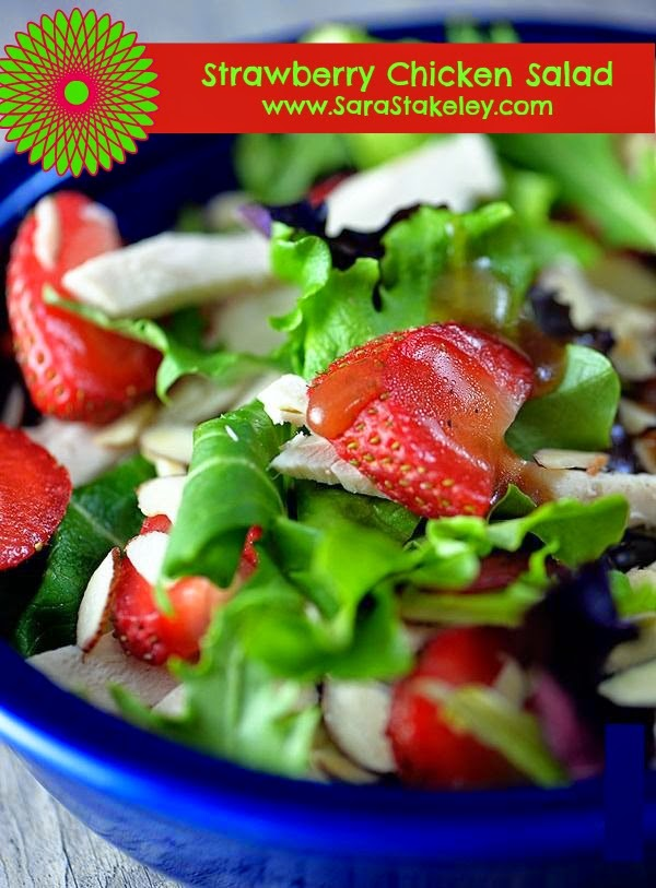 Strawberry Chicken Salad, dinner ideas, Eat Clean, Lunch Recipe, Summer Meals, Sara Stakeley, Sarastakeley.com, Strawberry vinegar, Basil Olive oil,