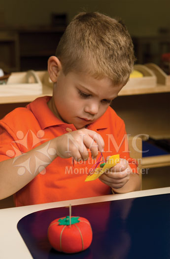 NAMC montessori practical life more than chores sewing button