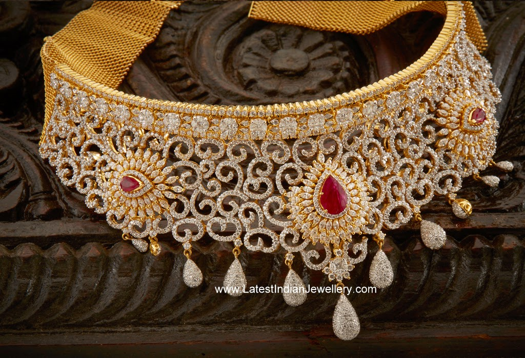 Diamond Bridal Choker with Rubies