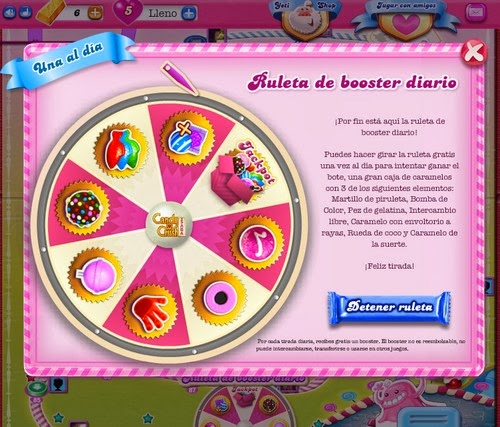 Ruleta Booster Candy Crush Saga