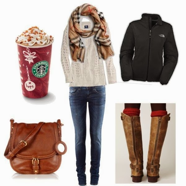 Scarf, sweater, warm jacket jeans, handbag and long boots for fall