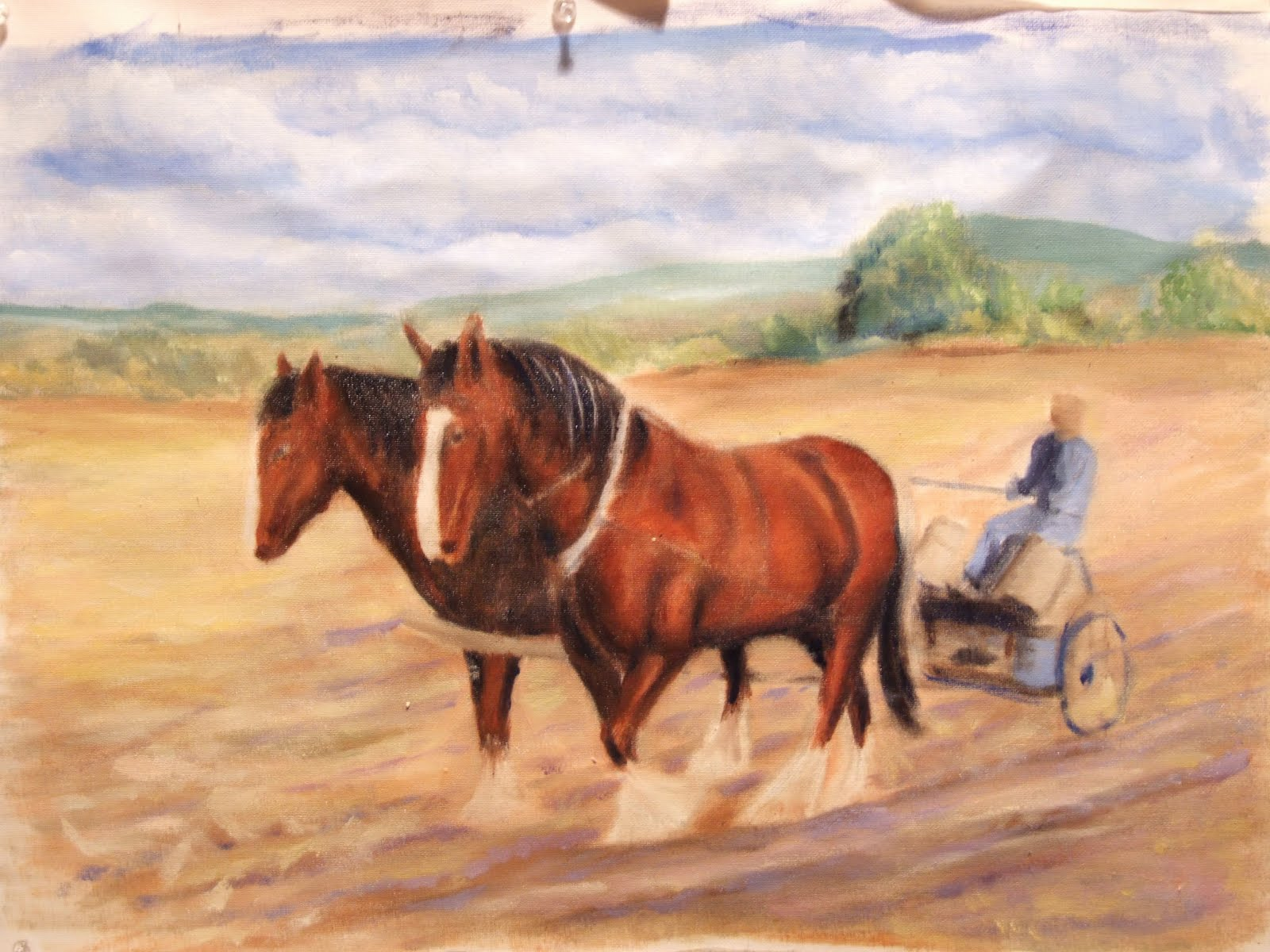 Plough horse oil painting step 7 