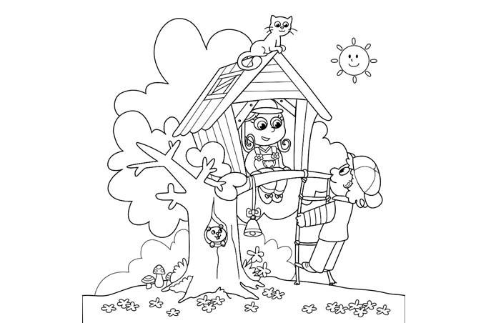 صورة اطفال يبنبون بيت فوق شجرة ويلعبون به للتلوين
