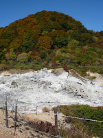 Hill at Osorezan near geothermal activiy. Autumn colours starting to appear