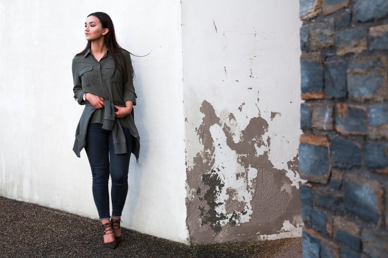 Killer Khaki, An Outfit Post Styled by Kayley Anne Jones, featuring Khaki Shirt, Khaki Heels, Khaki Zip Hoodie and Denim Jeans.