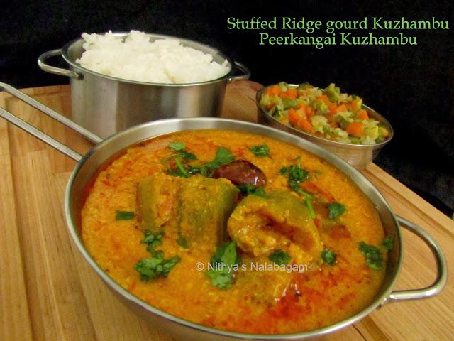 Stuffed Ridge gourd Kuzhambu | Stuffed Peerkangai Kuzhambu
