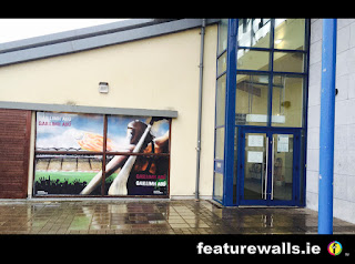GALWAY HURLING WINDOW PAINTING HAND PAINTED  BY PROFESSIONAL WINDOW PAINTERS FEATUREWALLS.IE