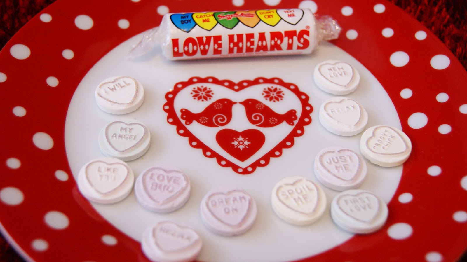 Love Hearts sweets on a plate