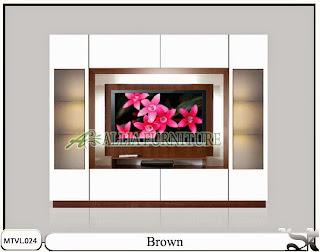 Lemari pajangan model tv lcd minimalis Brown