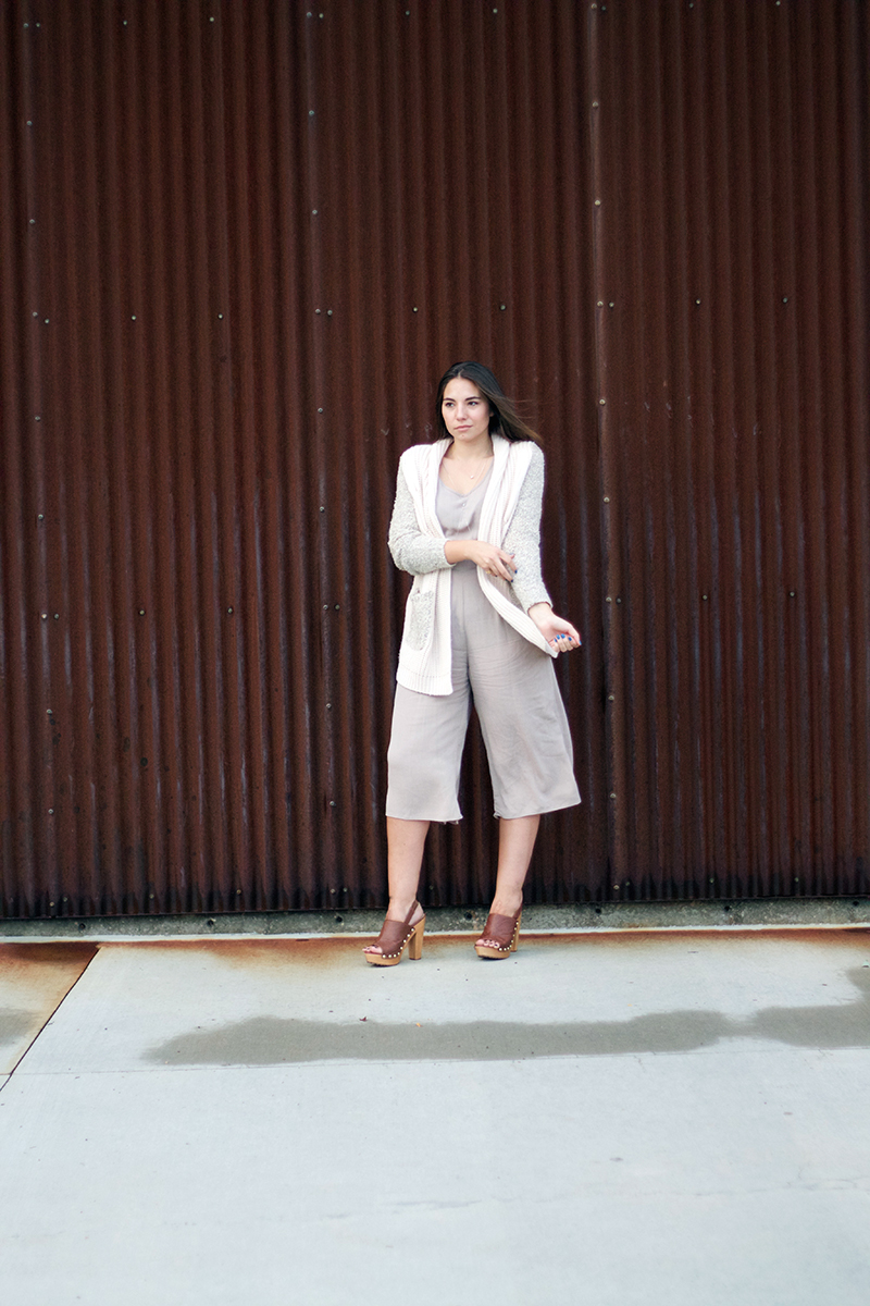 nude colored culotte jumpsuit from maude boutique