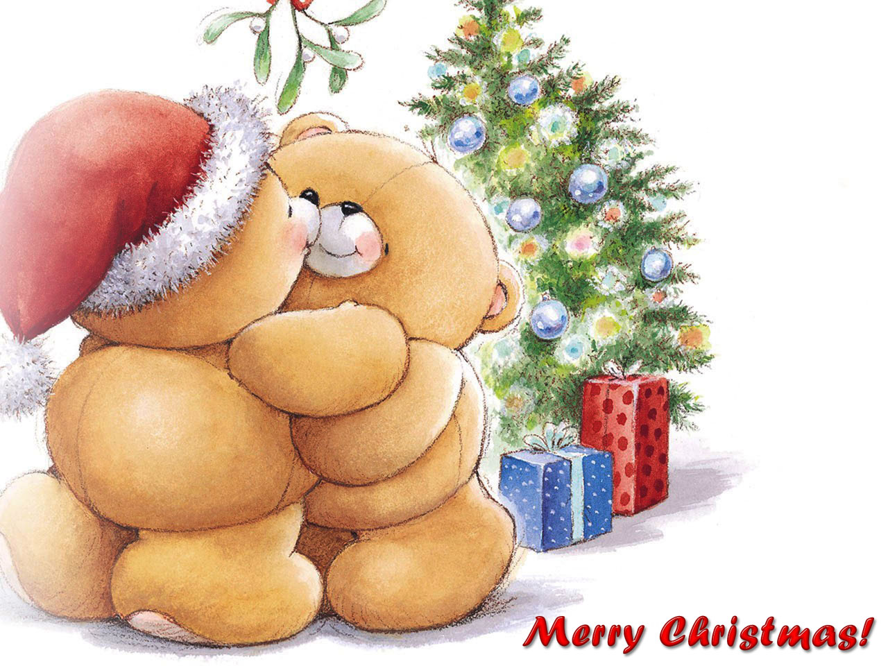 Merry Christmas Wallpapers With Teddy In Santa Hat Giving