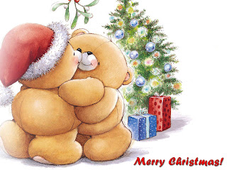 Merry Christmas wallpapers with teddy in Santa hat giving Christmas gifts to another teddy at X mas tree photo