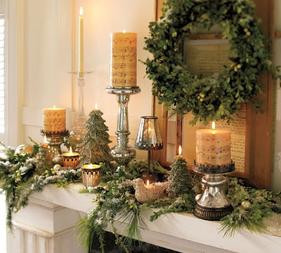 Christmas Fireplace Mantle with Candles and Greens