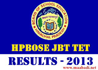 HPBOSE JBT-CET TET 2013 Results
