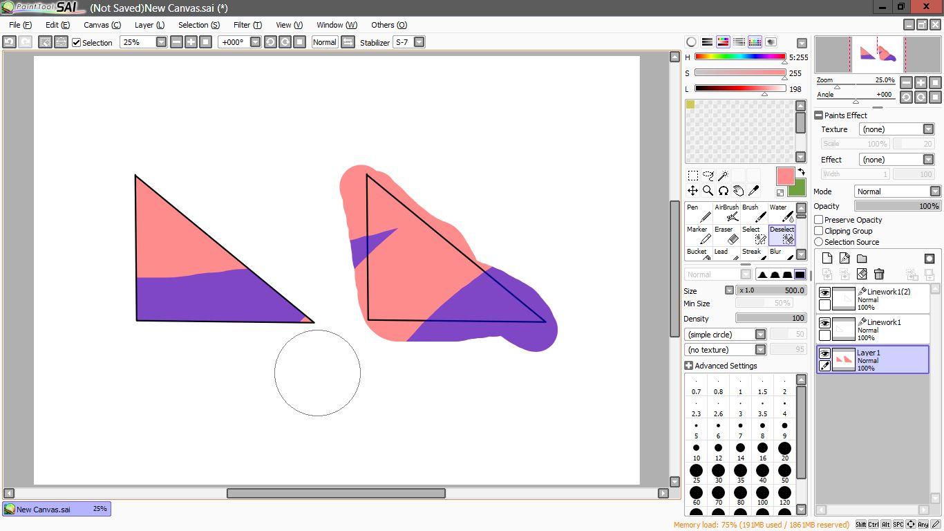 Area biru tersebut adalah area magic wand tool dan kita bisa lihat segitiga yang telah kita warnai pada segitiga pertama terlihat rapih dan mengisi semua