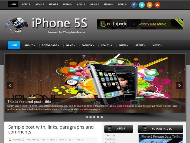 iPhone 5S Blogger Template