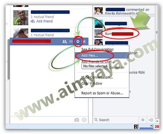 Gambar: Cara mengirim /upload file via dialog chatting  di Facebook
