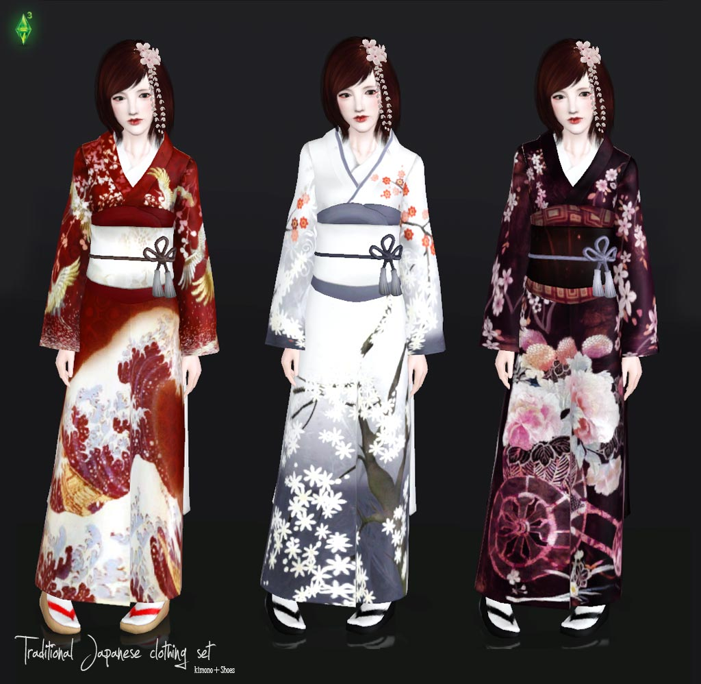 My sims 3 blog traditional japanese clothing set by mallow Japanese clothing designers
