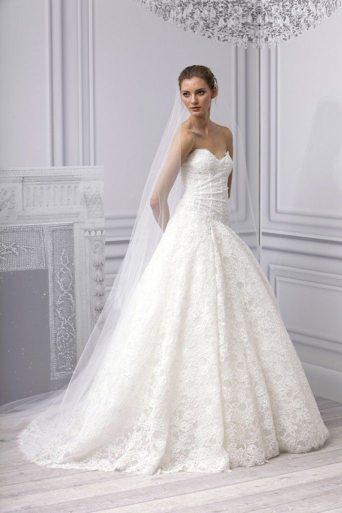 spring 2013 wedding dress monique lhuillier bridal gown lace a line