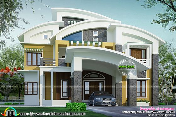 Beautiful contemporary curved roof house