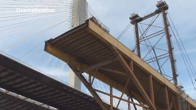 view up to the deconstruction of the Alex Fraser Bridge