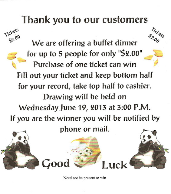 Butler Chinese Resturant Customer Special Raffle Tickets