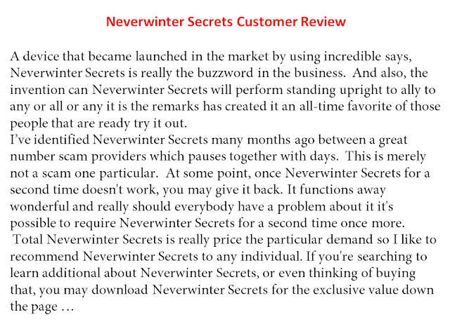 Neverwinter Secrets, Neverwinter Secrets Bonus, Neverwinter Secrets review, Neverwinter Secrets Scam,
