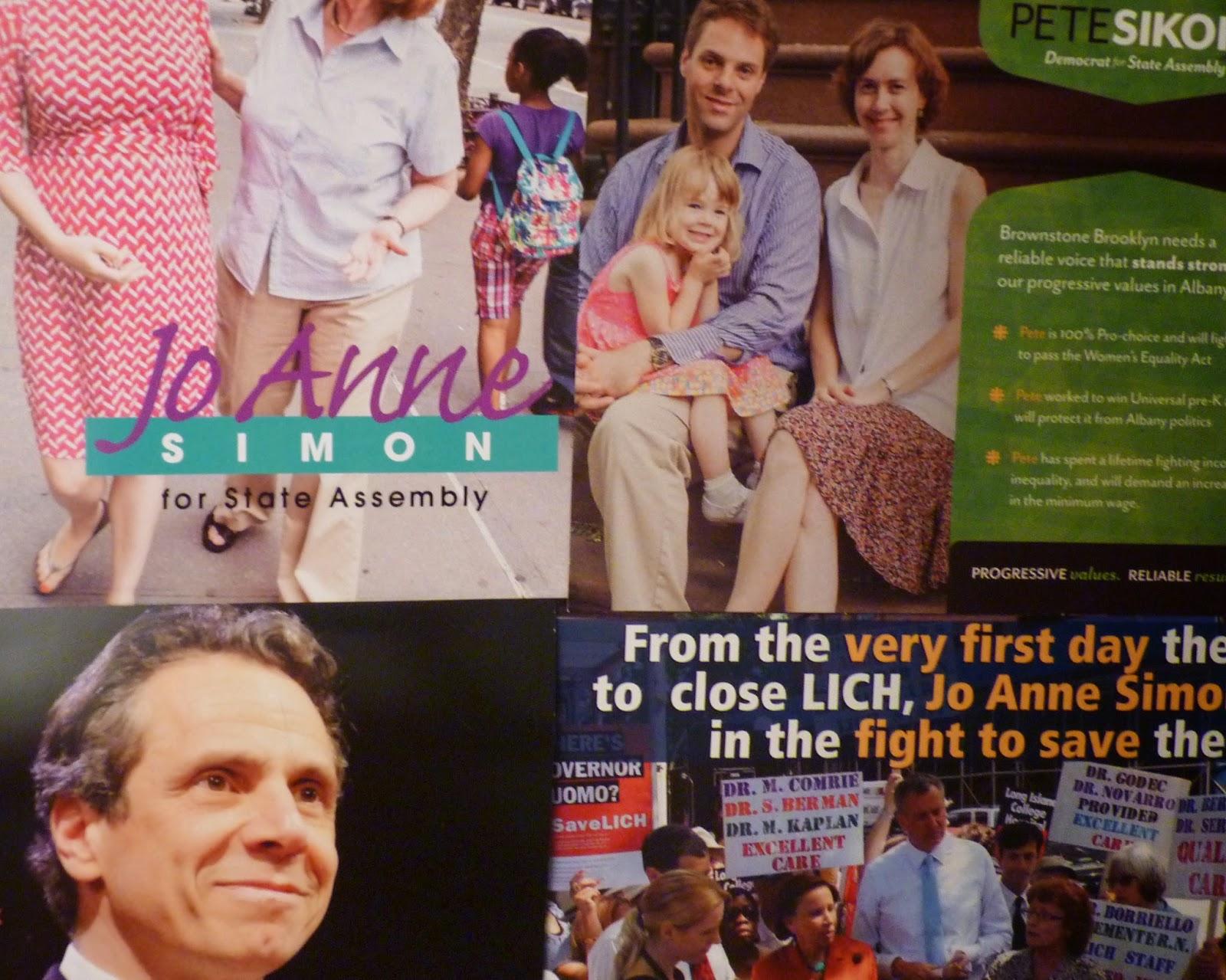 Jo Anne Simon, Peter Sikora, Gov. Cuomo campaign flyers
