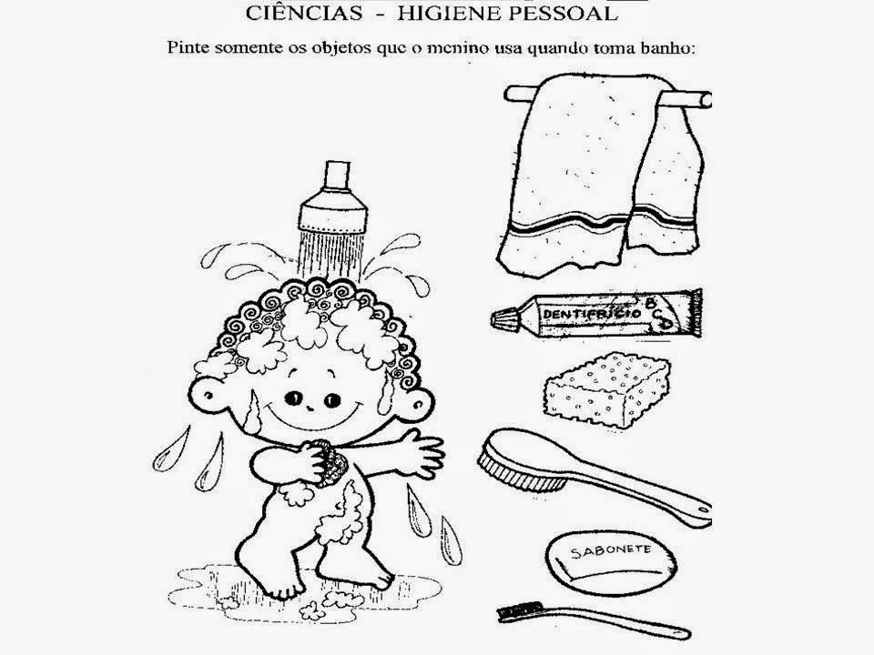 Desenhos para colorir hábitos de higiene VilaClub - imagens para colorir hábitos de higiene