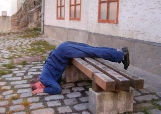 funny picture: drunk falling asleep on a park bench outside