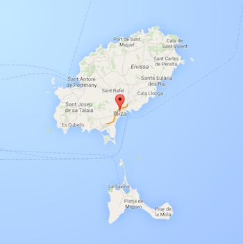 Map of Ibiza, from Google Maps, (c) Google.com
