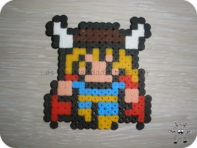 imán del personaje Thor realizado con Hama Beads
