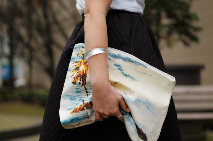 424 Fifth palm tree clutch with full midi skirt and Valentino flats Covet and Acquire