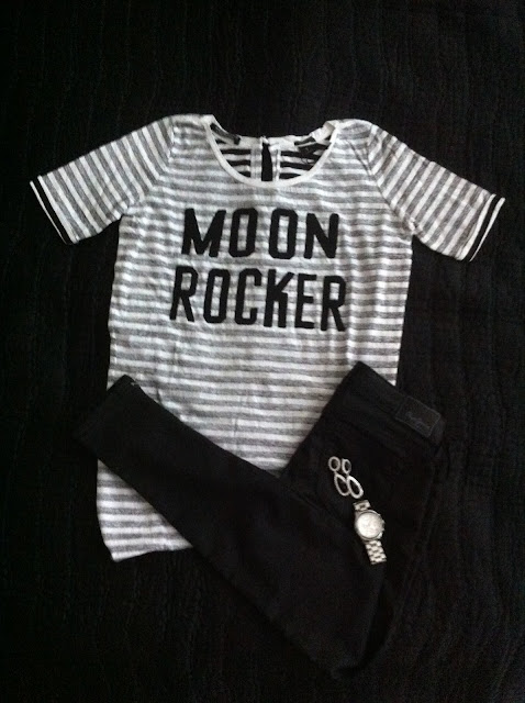 Ginatricot silver Kate Jacket, Maison Scotch moon rocker tshirt, Pepe Jeans Superstretch slim fit denim,