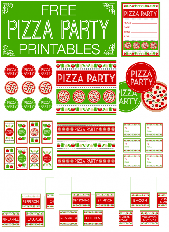 Free Pizza Party Printables.