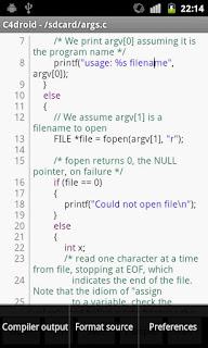 C4droid (C/C++ compiler), programar en tu celular
